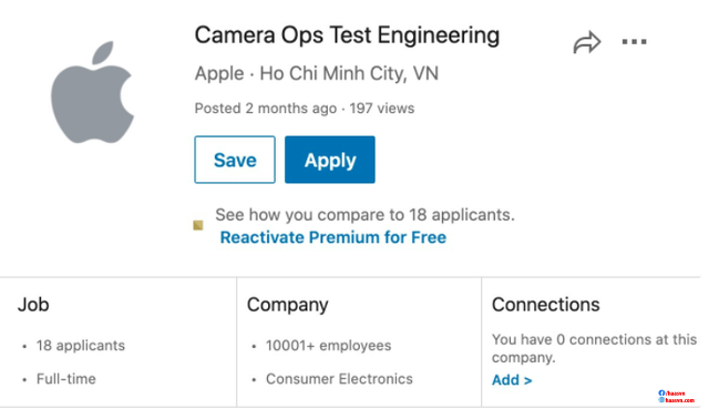 Thông tin trên website tuyển dụng của Apple.