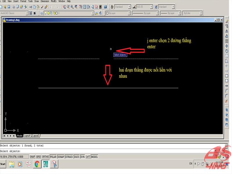 Cách sử dụng lệnh nối 2 đường thẳng trong cad