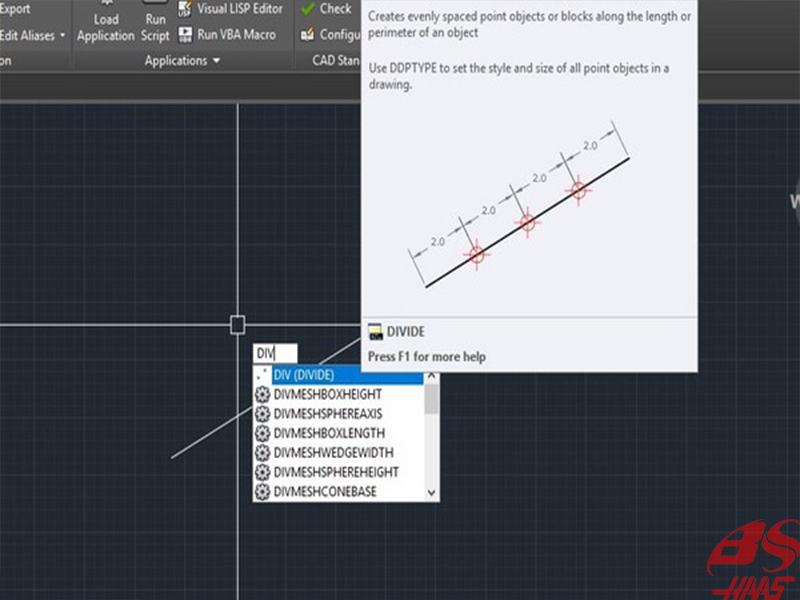 Cách sử dụng lệnh DIV để chia đoạn thẳng trong Cad