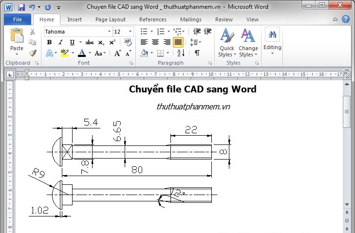 Phần mềm chuyển Cad sang Word
