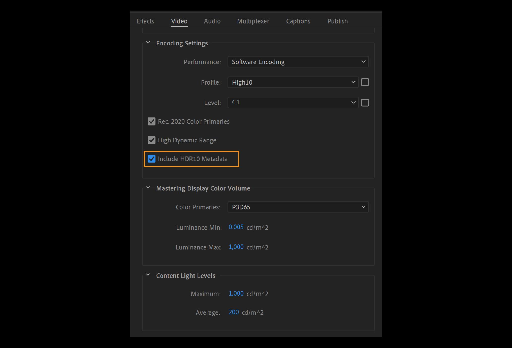 Adobe Premiere Pro 2020 hỗ trợ xuất HDR10 kèm metadata