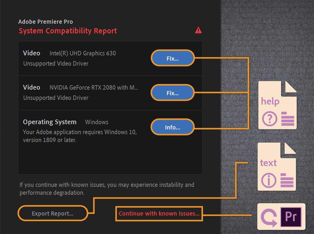 Một mẫu báo cáo thông tin các driver không được Adobe Premiere Pro hỗ trợ