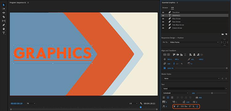 Tùy chọn gạch chân chữ ở Adobe Premiere Pro 2020